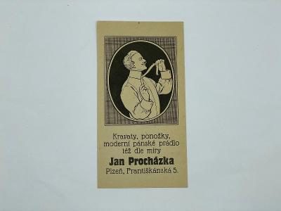 Účtenka reklama J. Procházka Plzeň kravaty ponožky prádlo