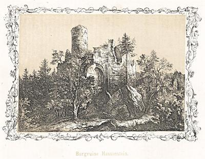 Hasistejn, tonovaný, dřevoryt, (1860)