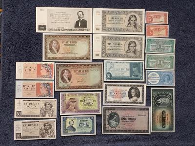 KOMPLETNÍ Sada Čsr BANKOVEK 1945-1950 V UNC STAVECH!!!!!