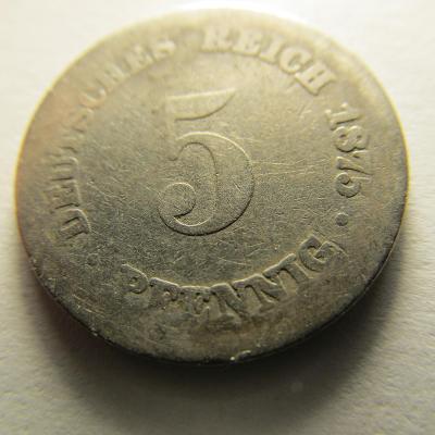 Německo, Kaiser Reich , 5 pfennig z roku 1875 J