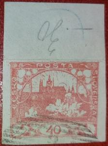 ČSR1 - 1918 - Hradčany 40h - č.14 - rohy + horní okraj