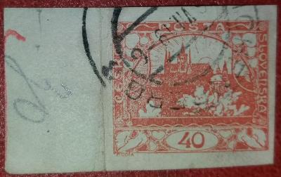 ČSR1-1918-Hradčany 40h-č.14-čárka pod prav. holub.+ okraj s barvou