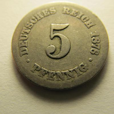 Německo, Kaiser Reich , 5 pfennig z roku 1876 C