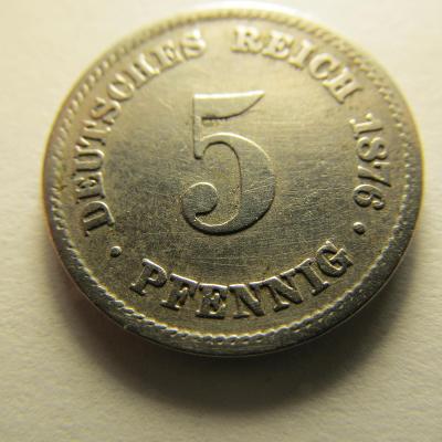 Německo, Kaiser Reich , 5 pfennig z roku 1876 E