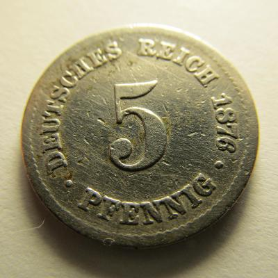 Německo, Kaiser Reich , 5 pfennig z roku 1876 F