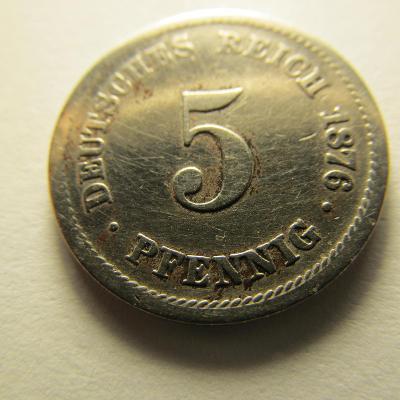 Německo, Kaiser Reich , 5 pfennig z roku 1876 J