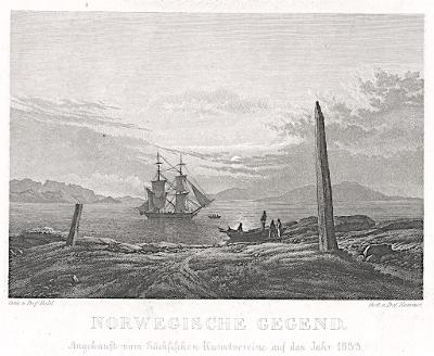 Norsko, Hammer, mědiryt, (1835)