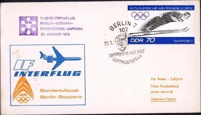 14B792 Deutschland- Olympiáda SAPPORO 1972, letecká obálka Berlín