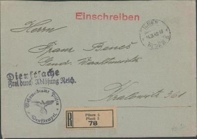 10B2381 Služební dopis Plzeň - Kralovice, mimořádná razítka