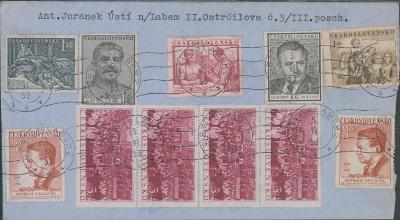 10B2385 Měnová reforma 5.6.53, Ústí n.L.  - M.L., obrovská frankatura