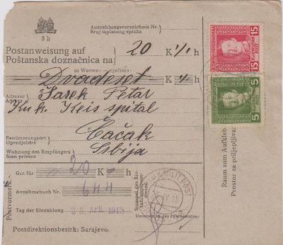 13B678 Poštovní průvodka, známky Karel, Čabak, Srbsko, mimořádné