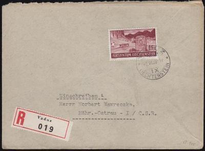 17B664  R dopis VADUZ - Moravská Ostrava