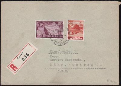 17B671 R Dopis VADUZ, Lichtenštejnsko - Moravská Ostrava