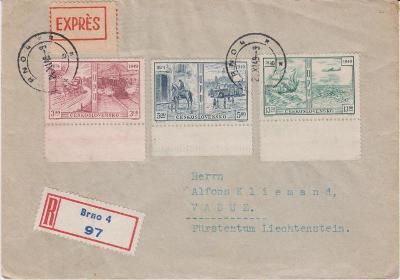 10B1850 Dopis Brno - Vaduz, Lichtenštejnsko, mimořádné