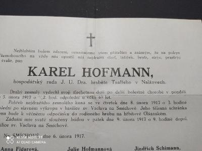 13B974 Úmrtní - Karel Hofmann- NALŽOVY, hrabě TAAFFE, lékárník NAGL R!