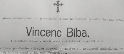 13B975 Strakonice - Vincenc BÍBA- ministerský úředník ve Vídni- Praha