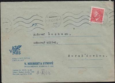 12B335 Firemní obálka V. Neubert a synové Praha - Horažďovice