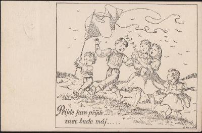 12B346 Malovaná pohlednice Štěkeň - Horažďovice