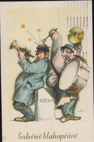 12B347 Malovaná pohlednice Praha - Horažďovice