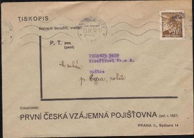 12B355 Firemní obálka První česká vzájemná pojišťovna Praha - Sušice
