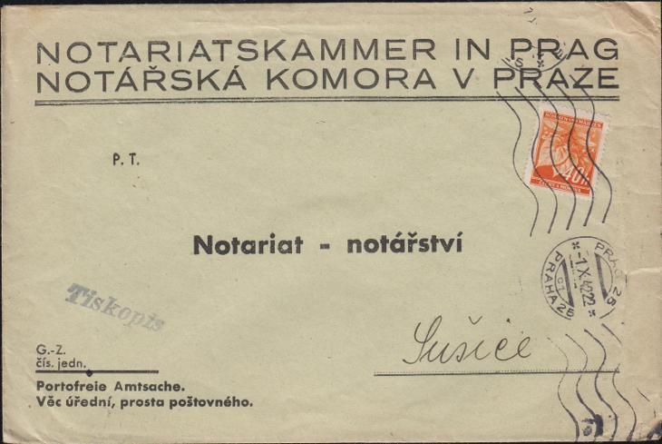 12B367 Úřední dopis Notářská komora v Praze - Sušice - Filatelie