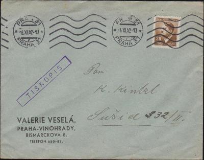 12B370 Dopis Praha, Vinohrady - Sušice, strojové razítko