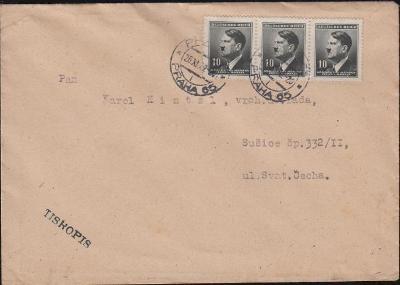 12B399 Dopis Praha - Sušice, raz. Klub filatelistů v Nuslích, 3-páska