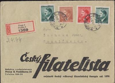 12B420 R dopis Český filatelista Praha, barevná frankatura , dekorativ