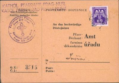 12B530 Lístek Katolický farní úřad Praha Nusle - farní úřad Sušice