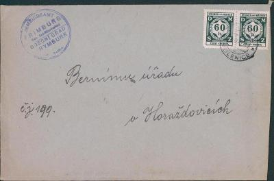 12B565 Služební dopis a známky, Obecní úřad Rumburk, razítko Volenice