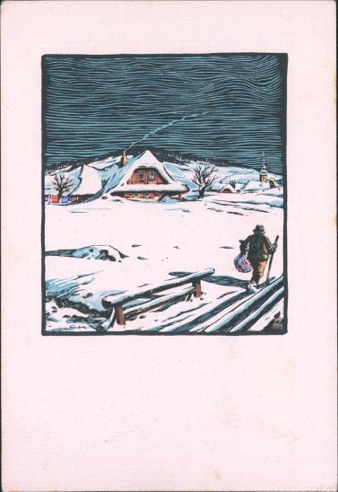 12B580  Malovaná pohlednice, Strakonice - Horažďovice