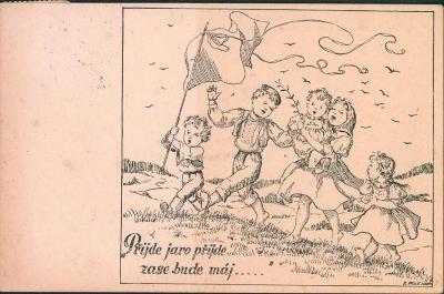12B582 Malovaná pohlednice  Písek - Horažďovice