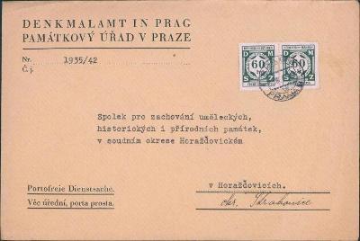 12B612 Úřední dopis Památkový úřad Praha, služební známky