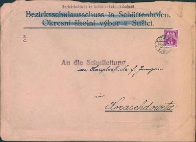 12B638 Služební dopis Okr. školní úřad Sušice, služ. známka, poškozeno