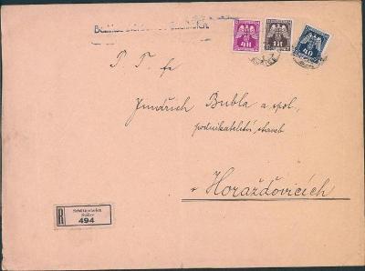 12B639 Úřední R dopis Sušice, 3ks služební známky - vzácná frankatura