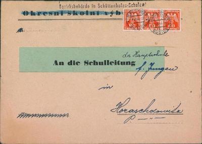 12B644 Dopis Okresní školní výbor Sušice, služební známky