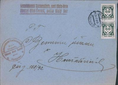 12B609 Dopis Obecní úřad Černíč, p. Malý Bor, služební známky 2ks