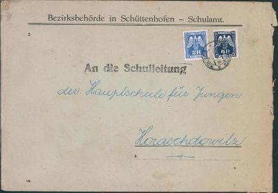 12B645 Dopis Okresní školní výbor Sušice, služební známky