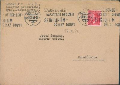 12B649 Úřední dopis Brno, mimořádné strojové razítko