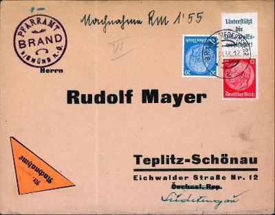 14B947 R dopis farní úřad Brandýs - Teplice, známka s okrajem