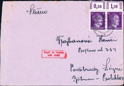 14B950 Dopis Berlín - Poděbrady, 2ks známka Hitler s okrajem