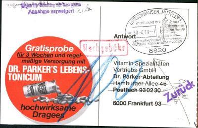 14B978 Reklamní lístek - obj. vitamínů Dr. Parker Hamburg