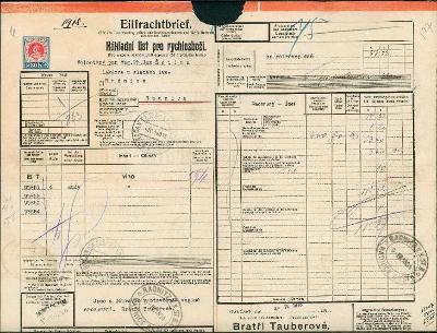 2A837 Bří Tauberové - Lékárna u zlatého lva Radnice, nákladní list