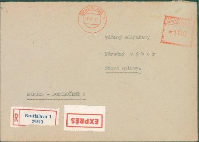 10B3548 R dopis Bratislava MNV Staré Splavy, vyplaceno na poště