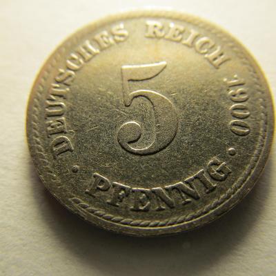 Německo, Kaiser Reich , 5 pfennig z roku 1900 A