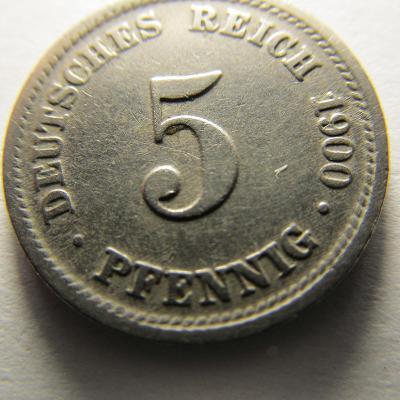 Německo, Kaiser Reich , 5 pfennig z roku 1900 D
