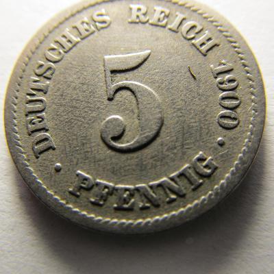 Německo, Kaiser Reich , 5 pfennig z roku 1900 F