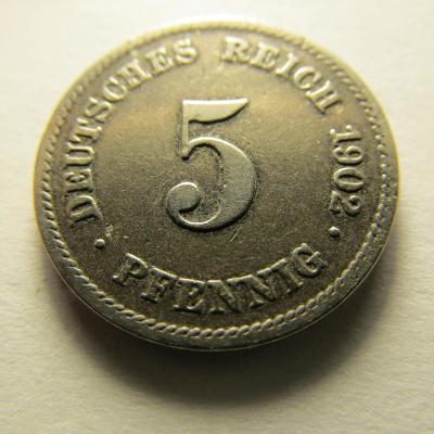 Německo, Kaiser Reich , 5 pfennig z roku 1902 E