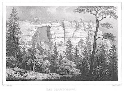 Pravčická brána , Semmler, litografie, 1845