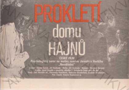 Prokletí domu Hajnů film plakát A4 Jiří Svoboda - Antikvariát